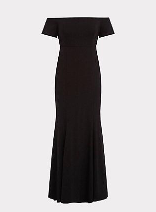 Special Occasion Black Ponte Off Shoulder Gown, DEEP BLACK, flat