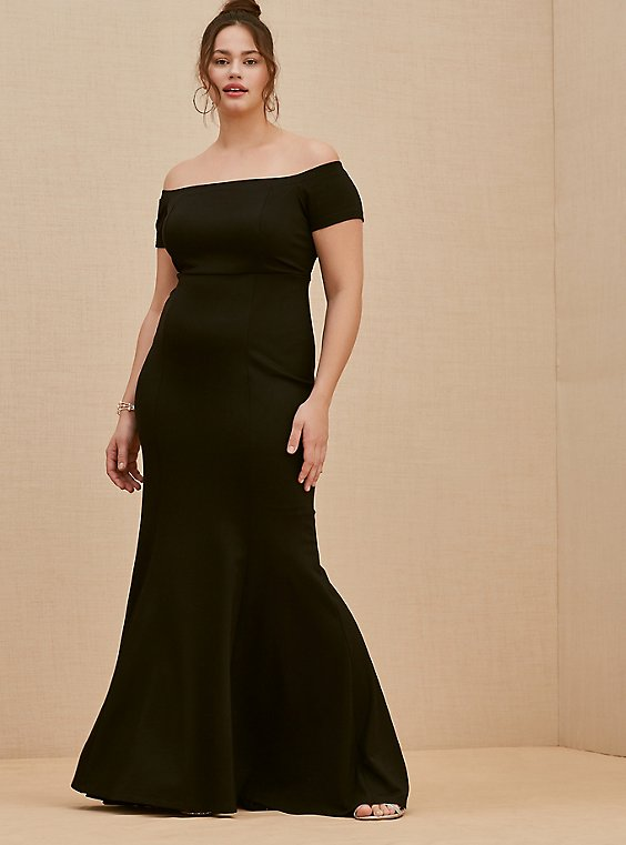 Plus Size Special Occasion Black Ponte Off Shoulder Gown, , hi-res