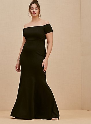 Special Occasion Black Ponte Off Shoulder Gown, DEEP BLACK, hi-res