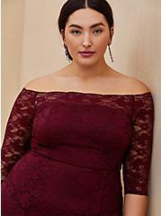 Plus Size Special Occasion Burgundy Red Lace Off Shoulder Maxi Dress, DEEP MERLOT, alternate