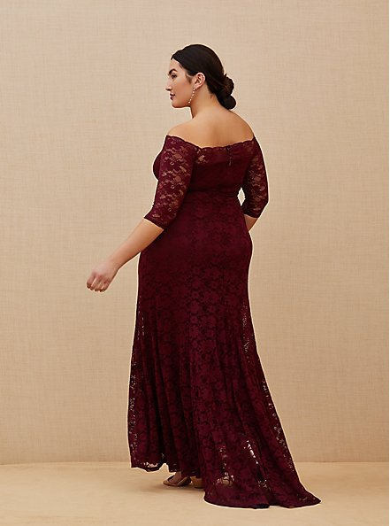 Special Occasion Burgundy Red Lace Off Shoulder Maxi Dress, DEEP MERLOT, alternate