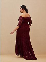 Special Occasion Burgundy Lace Off Shoulder Maxi Dress, DEEP MERLOT, alternate
