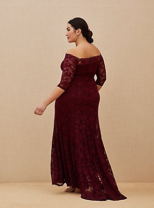 Plus Size Special Occasion Burgundy Lace Off Shoulder Maxi Dress, DEEP MERLOT, alternate