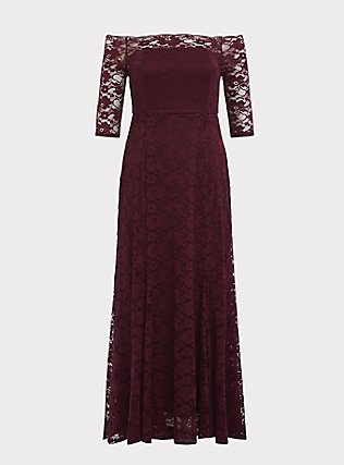 Special Occasion Burgundy Lace Off Shoulder Maxi Dress, DEEP MERLOT, flat