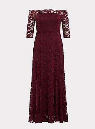 Plus Size Special Occasion Burgundy Lace Off Shoulder Maxi Dress, DEEP MERLOT, flat