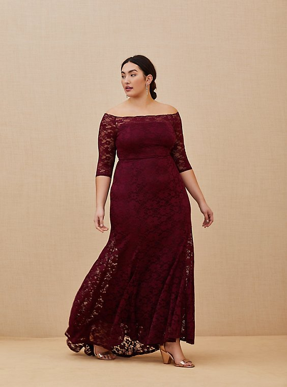 Plus Size Special Occasion Burgundy Lace Off Shoulder Maxi Dress, , hi-res