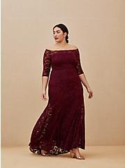 Special Occasion Burgundy Lace Off Shoulder Maxi Dress, DEEP MERLOT, hi-res
