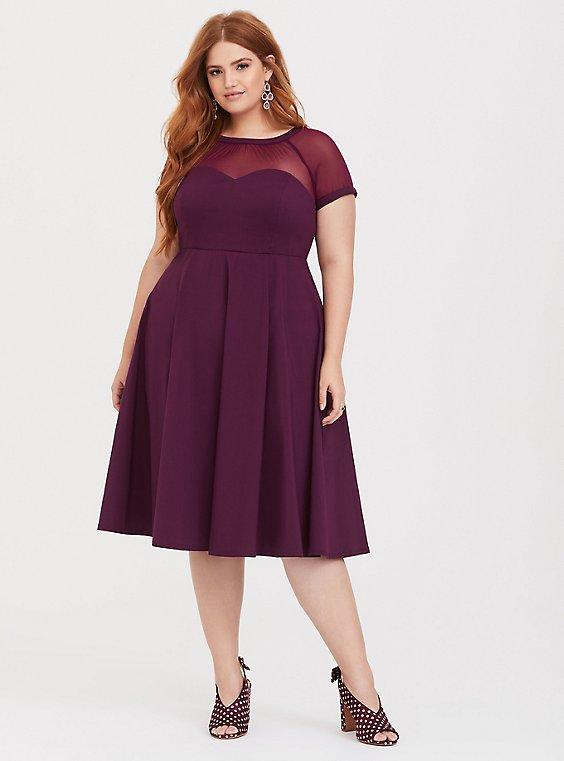 Purple Illusion Neck Swing Dress, , hi-res