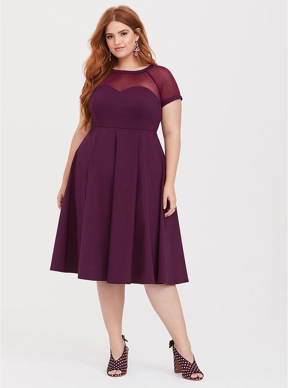 Purple Illusion Neck Swing Dress, HIGHLAND THISTLE, hi-res