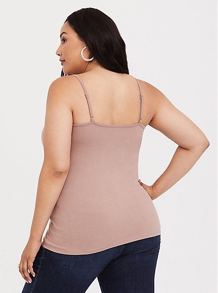 Taupe Scoop Neck Foxy Cami, WARMED STONE, alternate