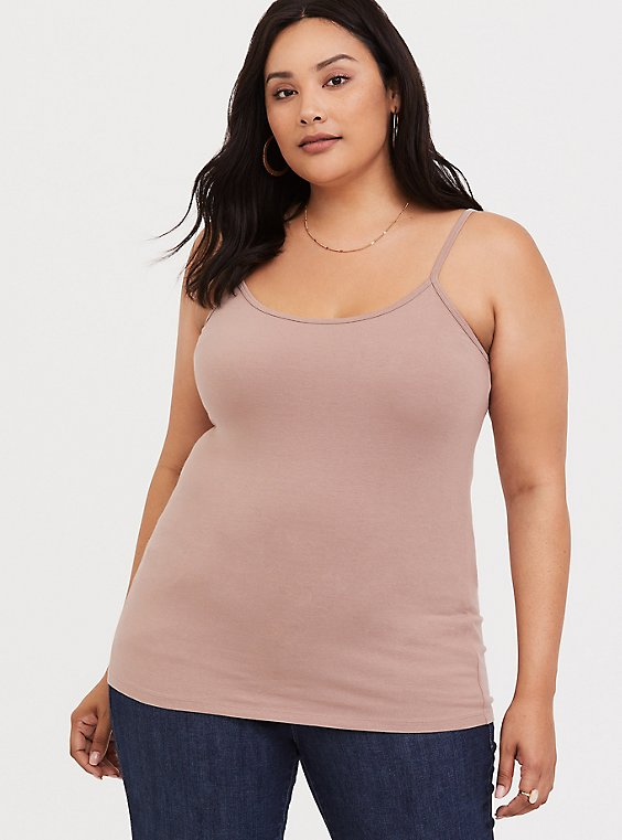 Plus Size Taupe Scoop Neck Foxy Cami, , hi-res