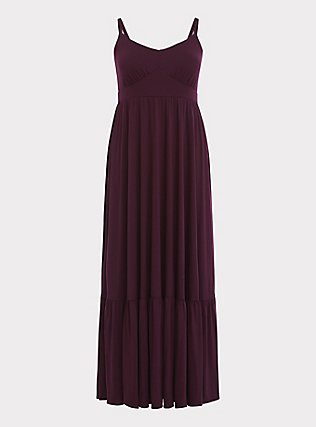 Burgundy Purple Jersey Maxi Dress, WINETASTING, flat
