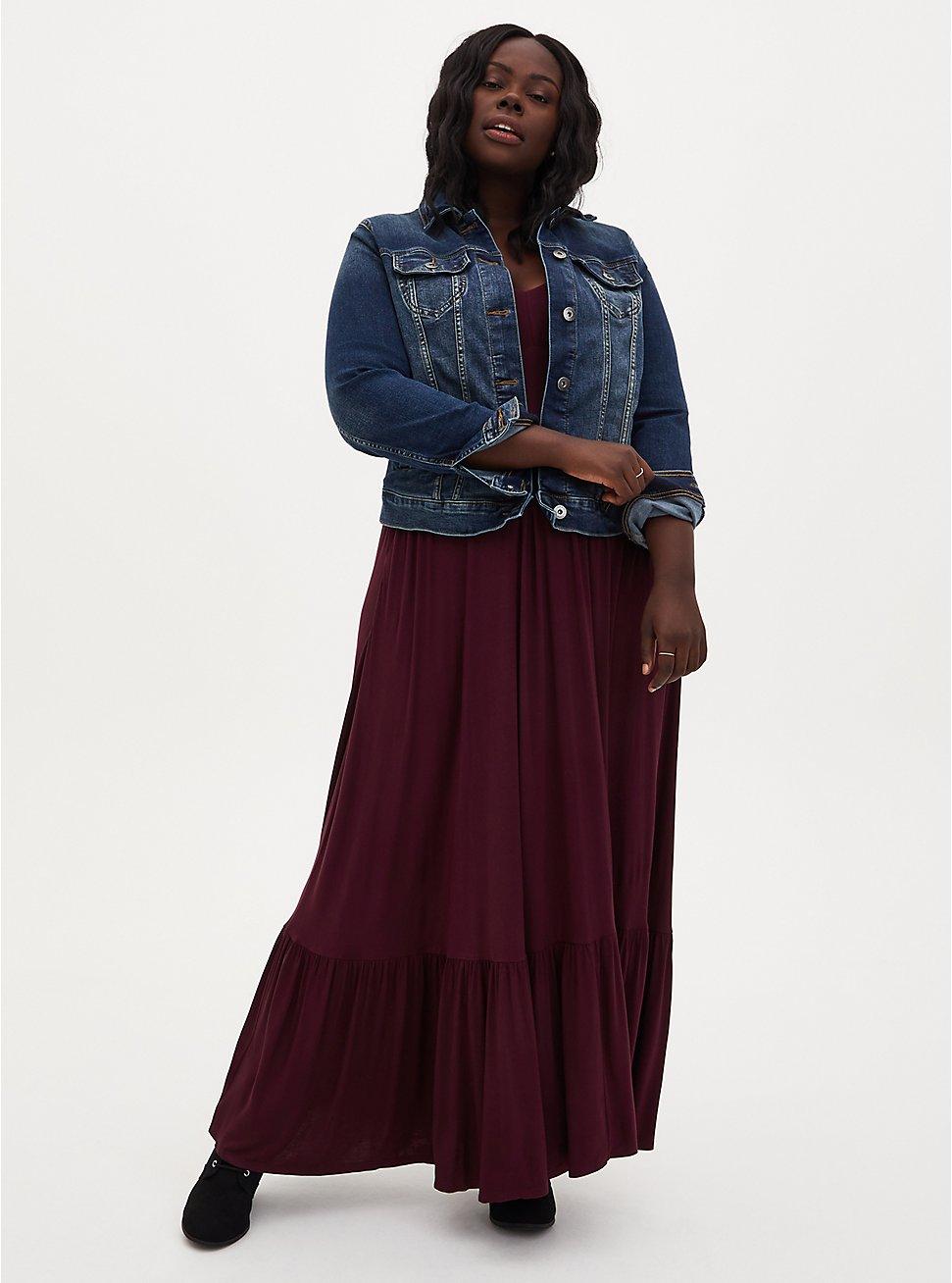Burgundy Purple Jersey Maxi Dress, WINETASTING, hi-res