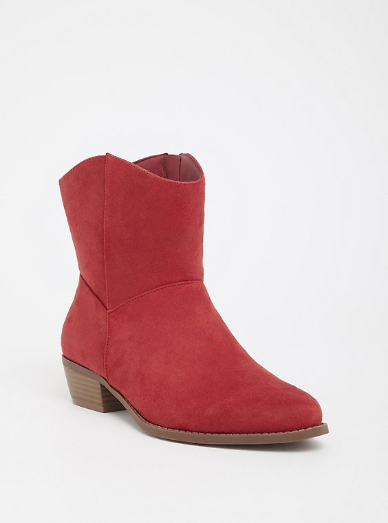 Red Faux Suede Cowgirl Bootie (WW), , hi-res