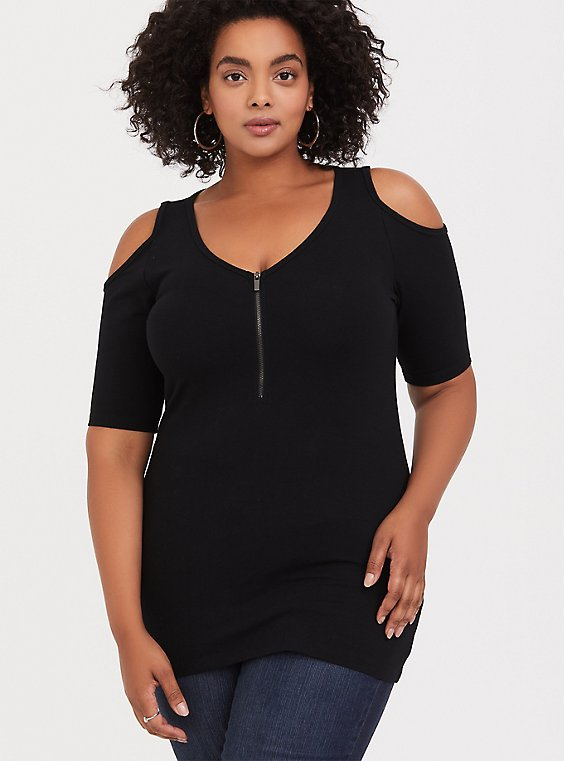 Black Cold Shoulder Zip V-Neck Foxy Tee, , hi-res