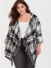 Plus Size Black Plaid Fringe Kimono, PLAID, alternate