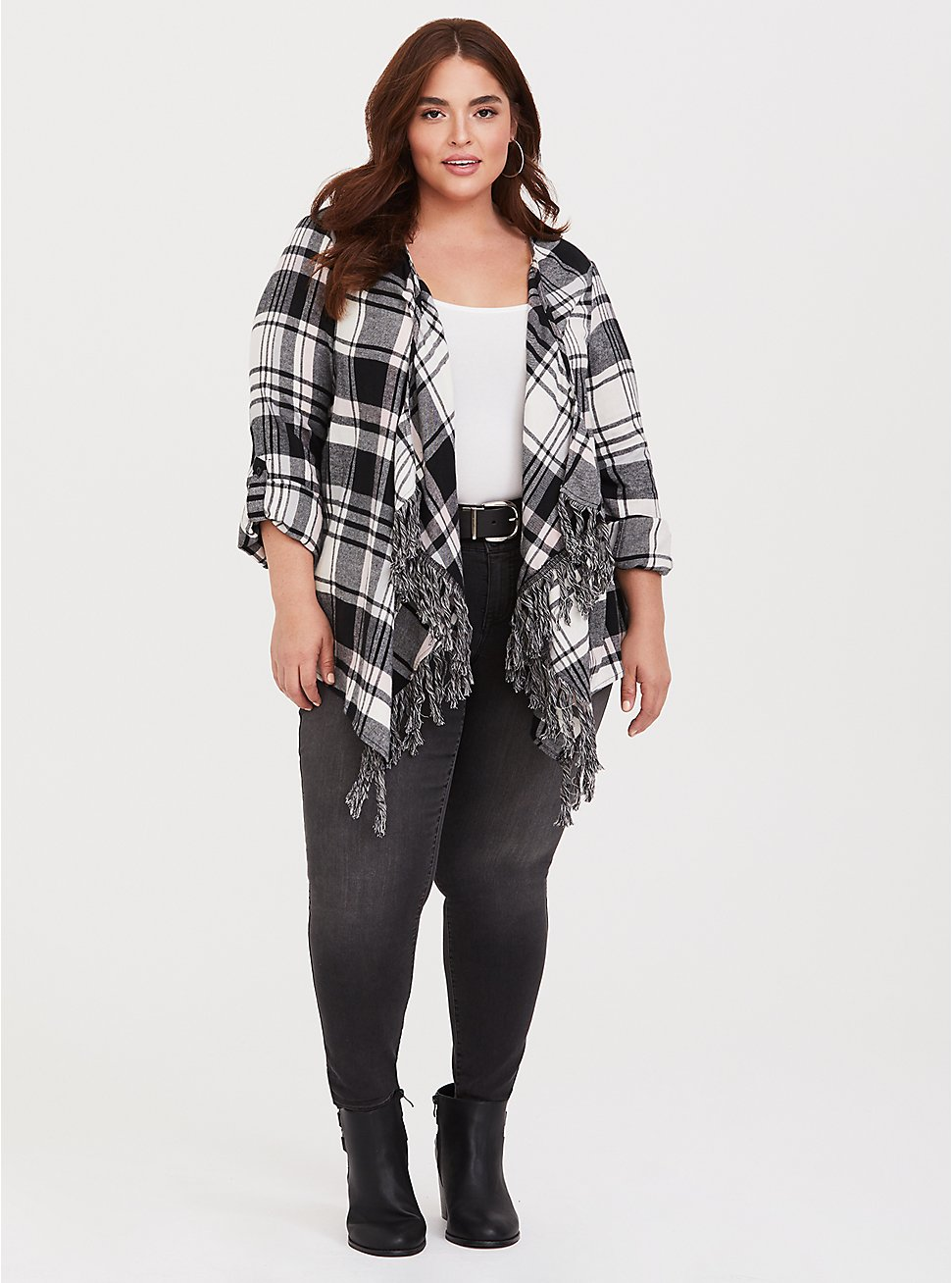 Plus Size Black Plaid Fringe Kimono, PLAID, hi-res