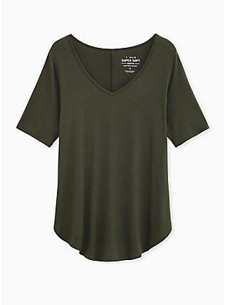 Super Soft Olive Green Favorite Tunic Tee, DEEP DEPTHS, flat