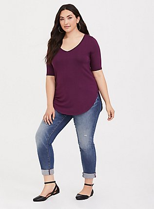 Super Soft Burgundy Purple Favorite Tunic Tee, HIGHLAND THISTLE, alternate