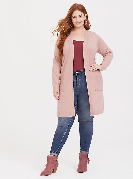 Blush Pink Rib Longline Pocket Cardigan, , hi-res