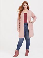 Blush Pink Rib Longline Pocket Cardigan, DUSTY QUARTZ, hi-res