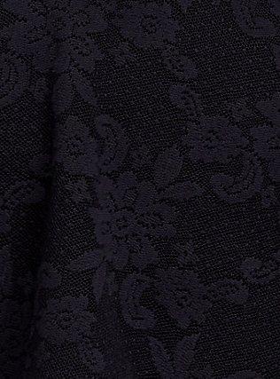 Black Lace Underwire Tankini Top, DEEP BLACK, alternate