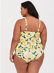 Yellow Floral Underwire Peplum Midkini Top, YELLOW, alternate