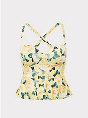 Yellow Floral Underwire Peplum Midkini Top, YELLOW, hi-res