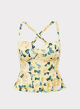 Plus Size Yellow Floral Underwire Peplum Midkini Top, YELLOW, flat