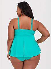 Turquoise Underwire Knot Front Flyaway Tankini Top, GREEN, alternate