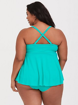 Plus Size Turquoise Underwire Knot Front Flyaway Tankini Top, GREEN, alternate