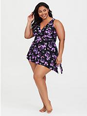 Plus Size Black Floral Wireless Asymmetrical One-Piece Swimsuit, MULTI, hi-res