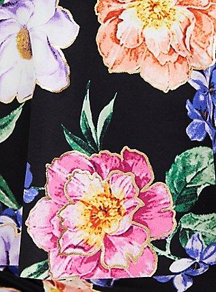 Black Floral Tie Front Underwire Peplum Midkini Top, MULTI, alternate