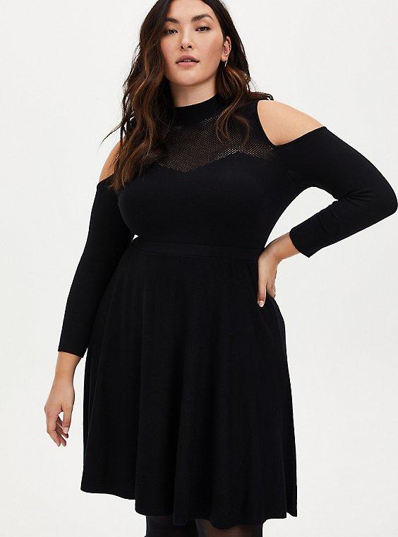 Black Cold Shoulder Sweater Dress, , hi-res