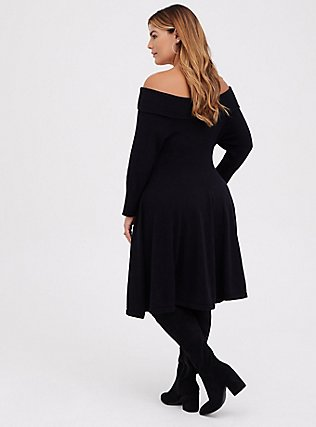 Black Off Shoulder Skater Dress, DEEP BLACK, alternate