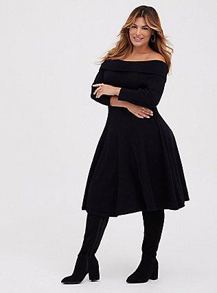 Black Off Shoulder Skater Dress, DEEP BLACK, hi-res