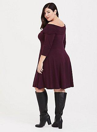 Wine Off Shoulder Sweater Dress, DEEP MERLOT, alternate