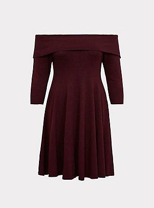 Wine Off Shoulder Sweater Dress, DEEP MERLOT, flat