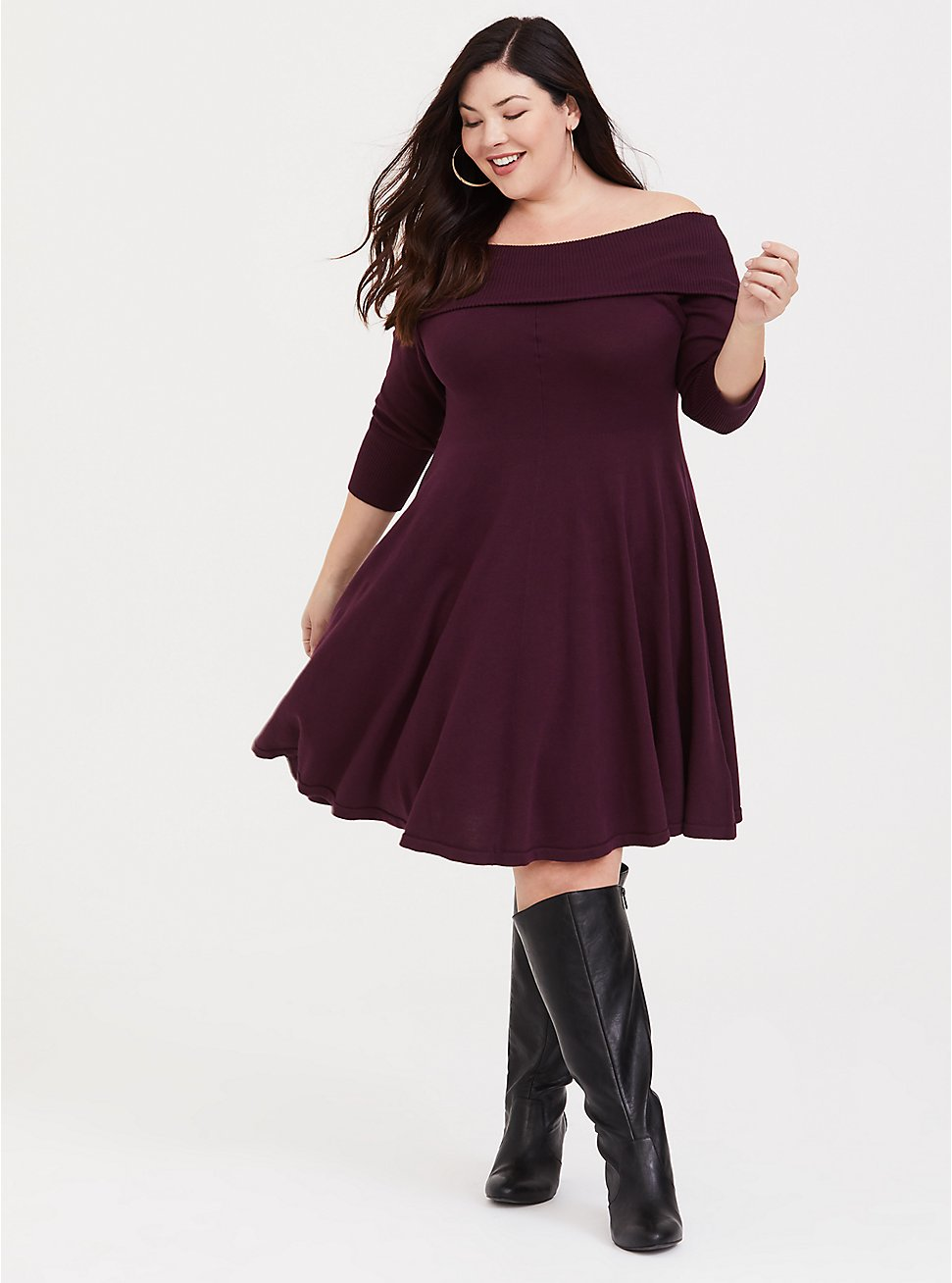 Wine Off Shoulder Sweater Dress