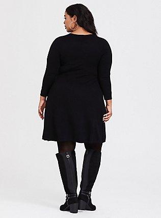 Black Lattice Skater Sweater Dress, DEEP BLACK, alternate