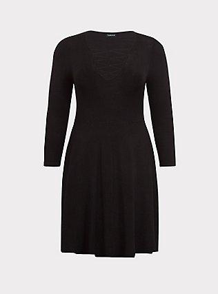 Black Lattice Skater Sweater Dress, DEEP BLACK, flat