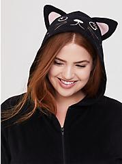 Plus Size Black Cat Fleece Onesie, DEEP BLACK, alternate