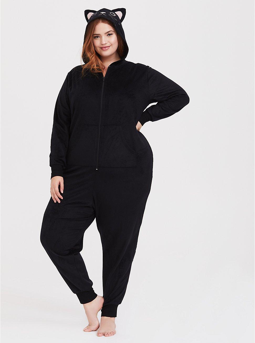 Plus Size Black Cat Fleece Onesie, DEEP BLACK, hi-res