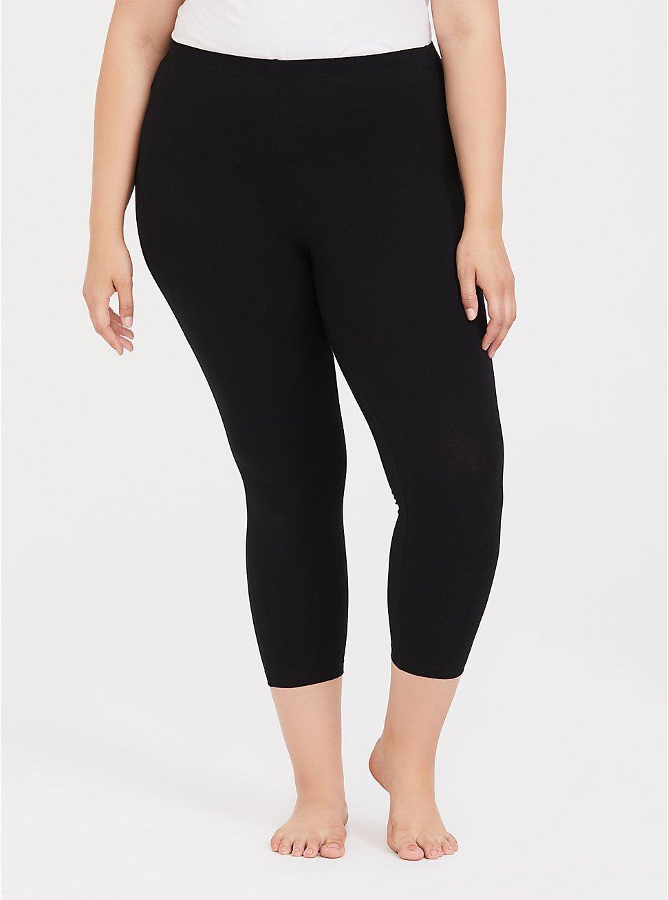 Plus Size Black Crop Sleep Legging, DEEP BLACK, hi-res