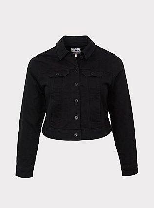 Black Crop Denim Jacket, DEEP BLACK, flat