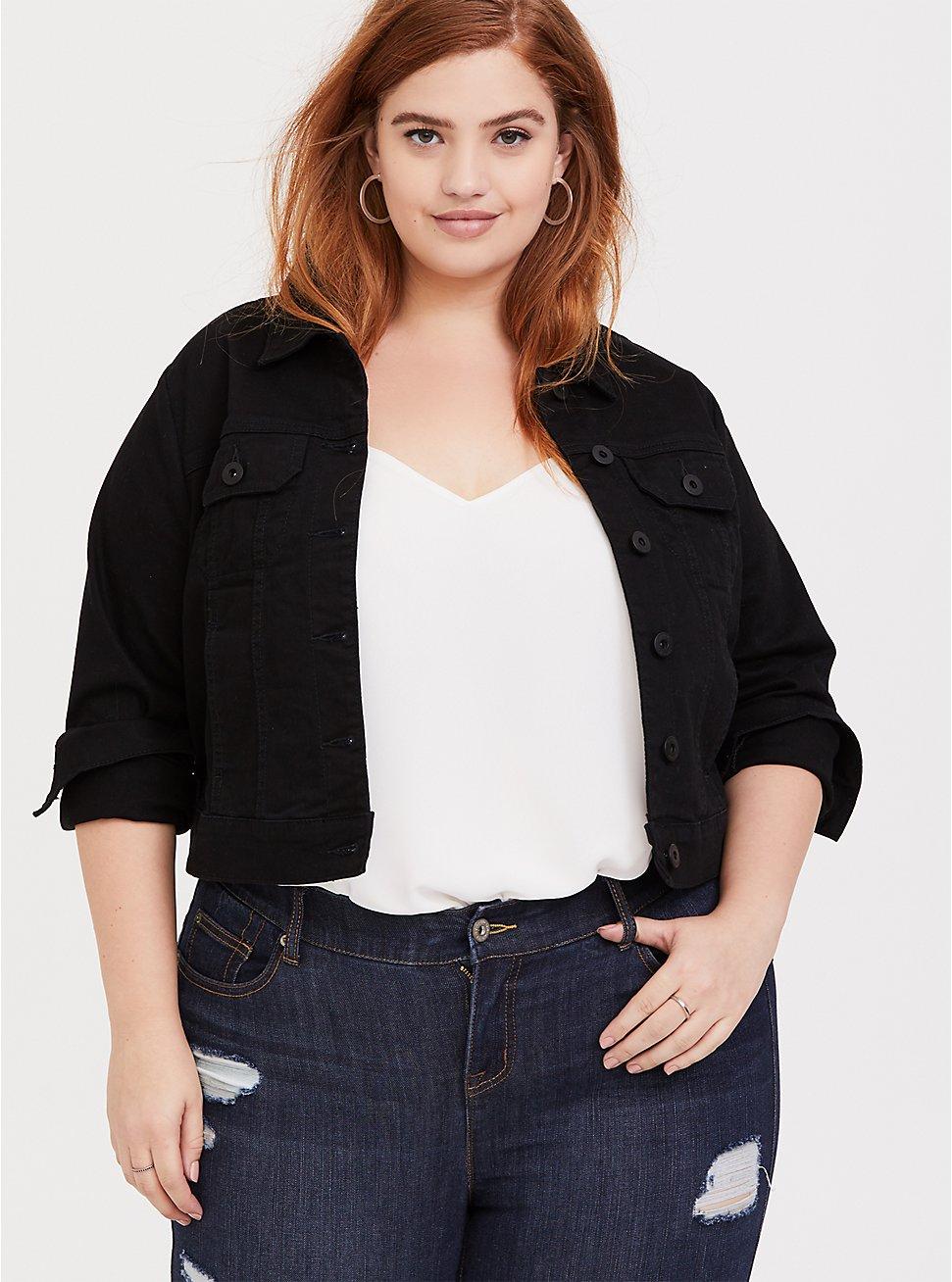 Black Crop Denim Jacket, DEEP BLACK, hi-res