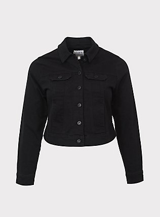Black Crop Denim Jacket, DEEP BLACK, ls