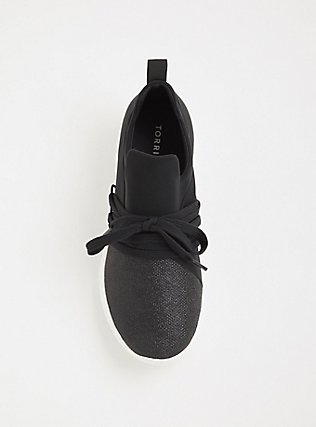 Plus Size Black Metallic Knit Sneaker (WW), BLACK, alternate