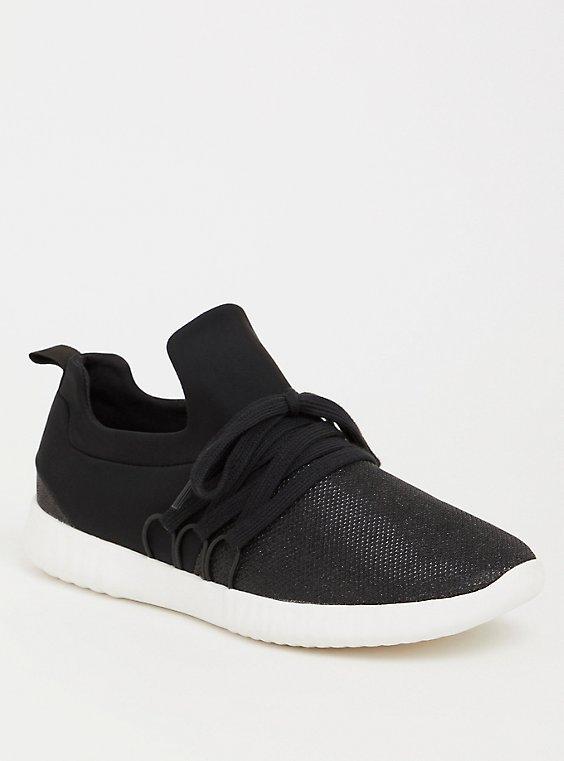 Plus Size Black Metallic Knit Sneaker (WW), , hi-res