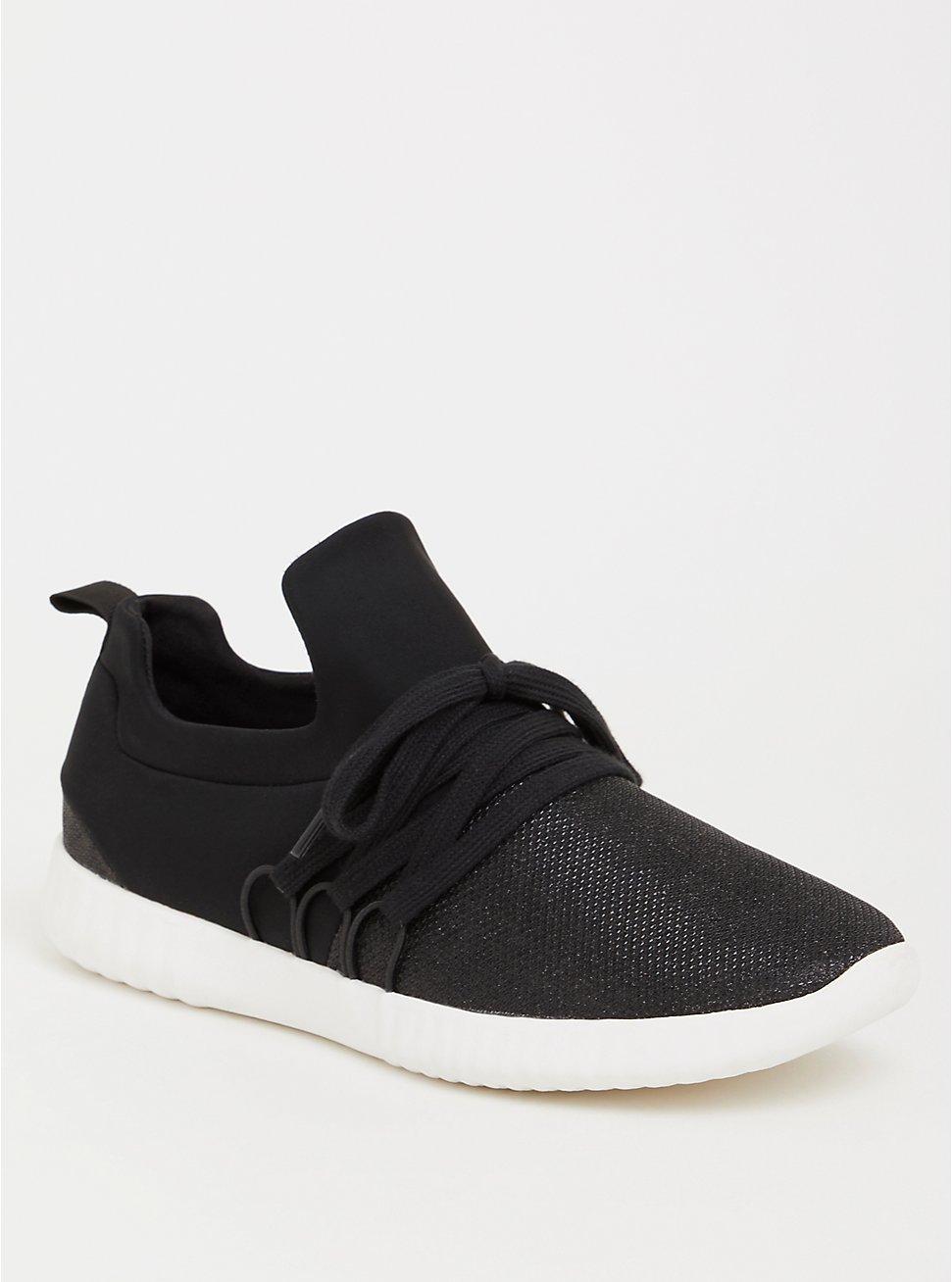 Black Metallic Knit Sneaker (WW), BLACK, hi-res